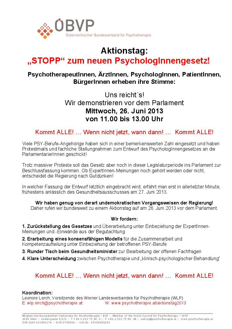 Psychologinnengesetz 2013 Wlp Wiener Landesverband Für