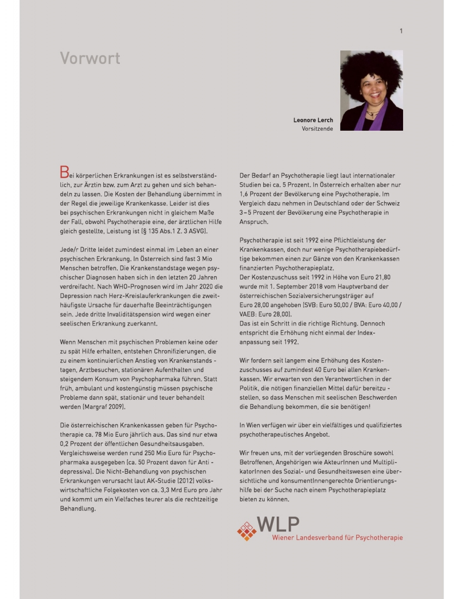 Psychotherapeutinnenverzeichnis Wlp Wiener Landesverband Für